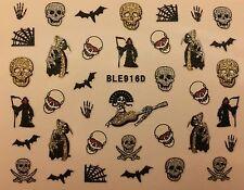 Nail Art 3D Glitter Decal Stickers Halloween Skull Bat Spider Web Reeper BLE916D