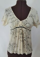 THEORY Suze Silk Blend Stretch Floral Ivory Black Blouse Top Sz P/TP C32