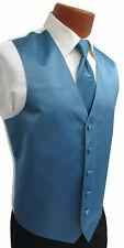 Men's Serene Blue Satin Fullback Tuxedo Vest & Long Tie Formal Wedding Prom
