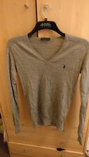 Men's All Saints Shadow Grey V Neck Merino Wool Sweater Size Small