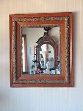 American Made Antique Victorian Wall Mirror Oak Wood & Gesso Original 1880s