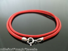 """2.5mm Red Leather 925 Sterling Silver Necklace Or Wristband 16"""" 18"""" 20"""" 22"""" 24"""""""