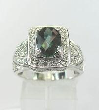 Estate 14k WG 1.2 CT Tourmaline .60 CTW Diamond Ring 4.9 Grams Size 8