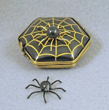 New French Limoges Trinket Box Halloween Spider Web W/ Spider & Removable Spider