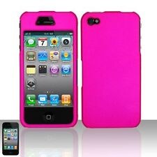 Rubberized Hard Snap-on Case for iPhone 4 / 4S - Hot Pink