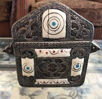 ANTIQUE MOROCCAN BRASS SILVER AND BONE INSERTION KORAN BOX CASE