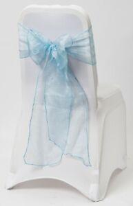 100 Petrol Powder Blue Sparkle Organza Chair Cover Sash Bow Wedding Party UK