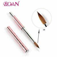 2x Acrylic Nail Brush 8#/10# Nail Art Kolinsky Sable Hair Pink Metal Handle Tool