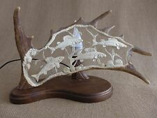 Fallow Deer Antler Lamp, Fish Design, Handmade Very Unique Gift