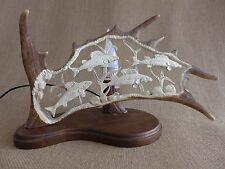 Fallow Deer Antler Lamp, Fish Design, Handmade Very Unique Gift