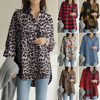 Women Collared Long Sleeve Shirt Tops Loose Causal Leopard Button Down Blouse US