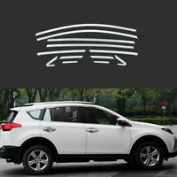 Full Windows Molding Trim Decoration Strips w/ Pillar For Toyota RAV4 2013-2015