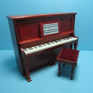 Dollhouse Miniature Beautiful Upright Piano in Mahogany with Bench D7081
