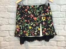 3.1 Phillip Lim Womens Floral High-Low Above Knee A-Line Skirt Black Silk Size 8