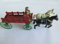 Circa 1930's Kenton Cast Iron Horse Drawn Wagon/Carriage - vintage toy