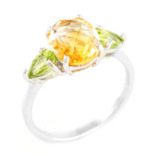 100% NATURAL 10X8MM CITRINE & APPLE PERIDOT RARE STERLING SILVER 925 RING SIZE 8