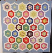 Colorful! c 30s Grandmother's Flower Garden VINTAGE Quilt FEEDSACKS Novelty