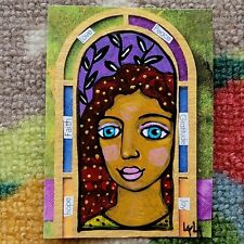 ORIGINAL ACEO Folk Art Botanical Girl Woman Portrait Hope Faith Love Peace Joy