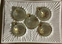 5 Commadore Christmas Classics Hand Decorated Glass Ornaments Round