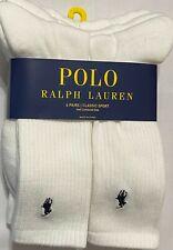 Polo Ralph Lauren Men's Athletic 6-Pair Crew Socks White - Half Cushioned Sole