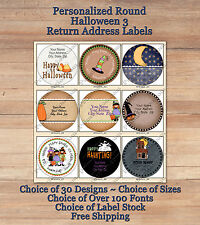 Colourful Whimsical Custom HALLOWEEN FALL Round Address Labels 3 Ghosts Cats