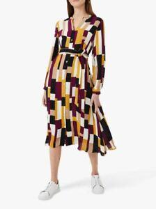 New HOBBS LONDON Tarini Printed Midi Pocket Belted Shirt Dress RRP £159 6-18