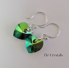 Heart Earrings made with Swarovski Scarabaeus Green & Solid Sterling Silver