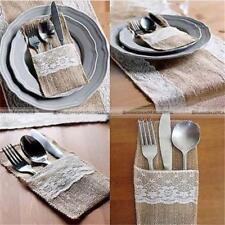 5x Vintage Hessian Burlap Lace Cutlery Holder Pouch Rustic Wedding Tableware Y2