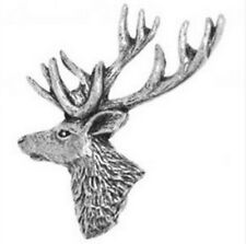 Stag's Head Made from Solid Fine English Pewter Pin Lapel Badge