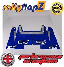 rallyflapZ SUBARU FORESTER STi (04-08) 2nd Gen Mud Flaps Blue STi White 4mm PVC