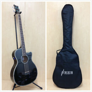 4/4 Haze FB-711BCEQ/BK 4-String Electric-Acoustic Bass Guitar,EQ,Black+Free Bag