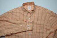 Brooks Brothers Mens Dress Shirt Size Medium Supima Cotton Non-Iron Orange White