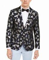 INC Mens Blazer Black Size Large L Slim Fit Jacquard Printed Metallic $149 #018