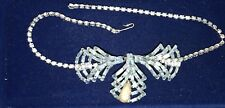 BEAUTIFUL VINTAGE PALE BLUE CRYSTAL/ FAUX PEARL BOW NECKLACE W/MATCHING EARRINGS