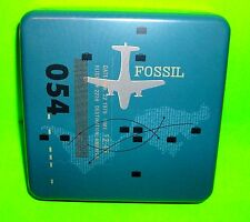Collectible Blue 054 FOSSIL TIN Airplane Plane Flight Destination America 2006