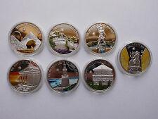"""Palau 5 $ 2013 (!!!) """" Die Sieben Weltwunder """", 7 Stück, Silber PP, Farbe #MÜ120"""
