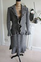HOBBS UK 14 Grey Wool Tweed Pencil Skirt Suit Ruffle Frayed Hem Large Quirky !!!