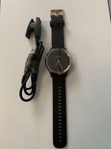 Garmin Vivomove HR Premium Rose Gold with black silicone strap