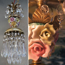 1 Porcelain Rose Brass tole chandelier Swag vintage lamp crystal beaded purple