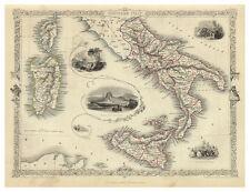 Italy Abruzzo Apulia Calabria Campania Sicily illustrated map Tallis ca.1851