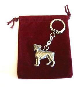 Boxer Dog Pewter Keyring - Pet Dog Keychain - Vet Kennels Mum Dad Xmas Gift NEW
