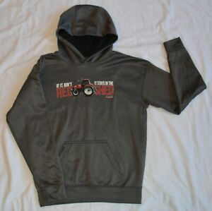 Case iH International Harvester Size Youth Large Hooded Sweatshirt Gray Tractor