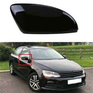 Pair Glossy Black Side Door Mirror Cover Caps For VW Jetta 11-17 Passat 09-17