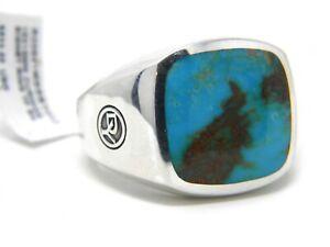 David Yurman 18x18mm Cushion Signet Ring Size 12 American Turquoise Silver NWT