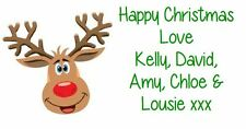 Christmas Label Personalised Xmas Labels Stickers Gift Address Party - REINDEER