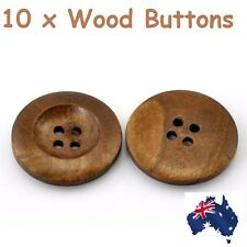 10x Wooden 4 Holes Round Wood Sewing Replace Buttons DIY Craft Scrapbooking 25mm