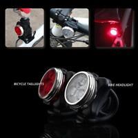 USB Wasserdicht Außen Fahrrad LED Scheinwerfer+Rücklicht Set MTB Mountain Bike