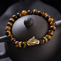 Luxury Men's Micro Pave Black CZ Gold Leopard Head Tiger Eye Stone Bracelet Gift