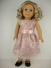 Fancy Dusty Pink Dress with Sequins Designed for 18 Inch Dolls