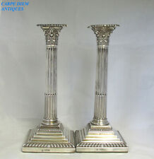 More details for victorian pair solid silver corinthian column candlesticks 2342g london 1897
